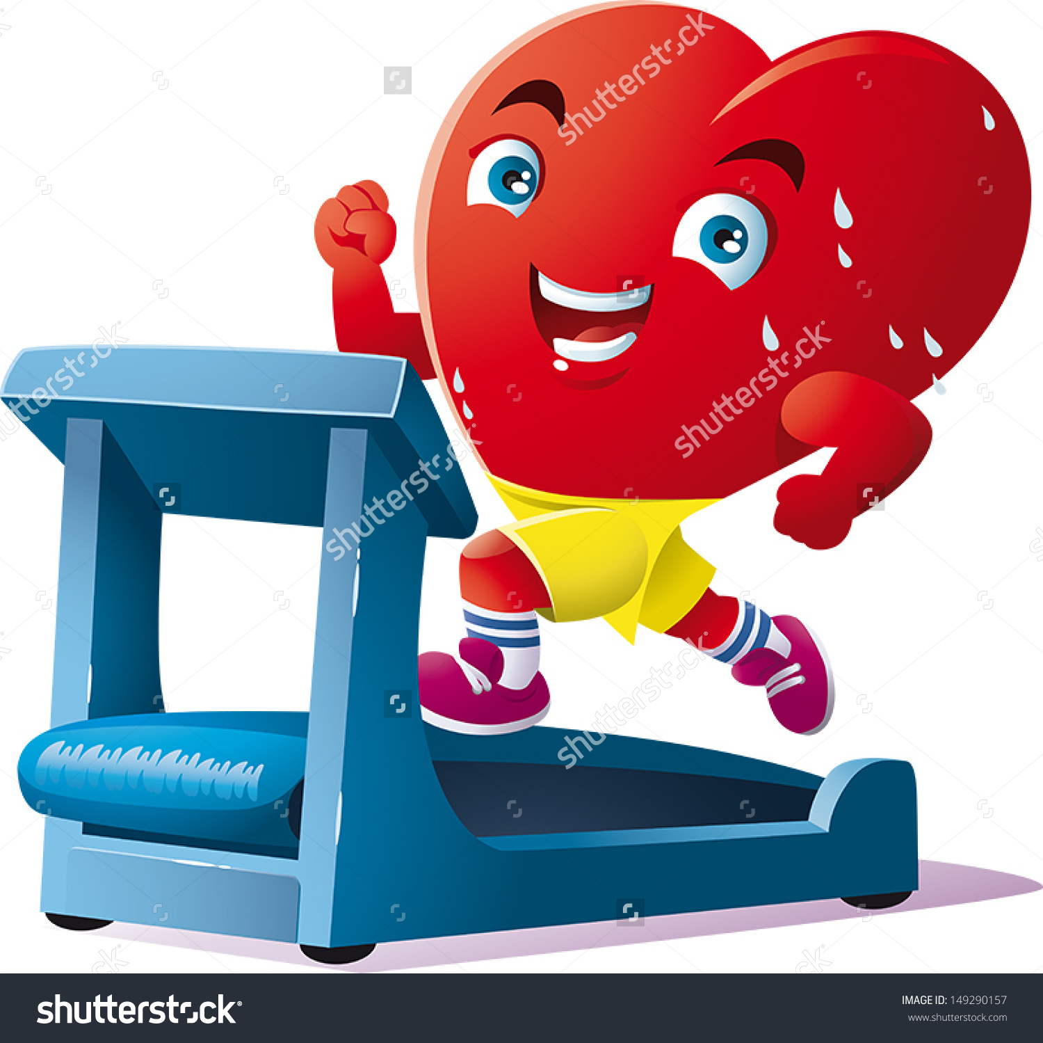 Animated Heart Run On Treadmill Stock Vector 149290157.