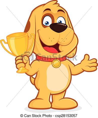Dog holding a trophy cup.