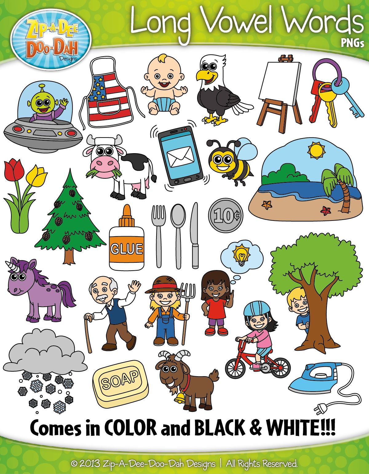 Long Vowel Sound Phonics Words Clipart {Zip.