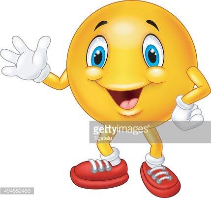 Cartoon emoticon waving hand Clipart Image.