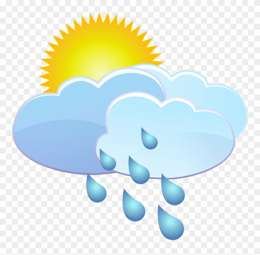 Free Png Clouds Sun And Rain Drops Weather Icon Png.