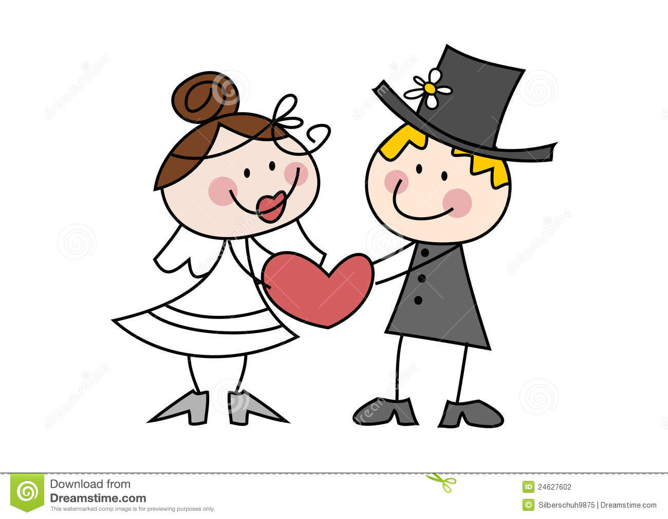 Wedding Couple Cartoon Clipart.