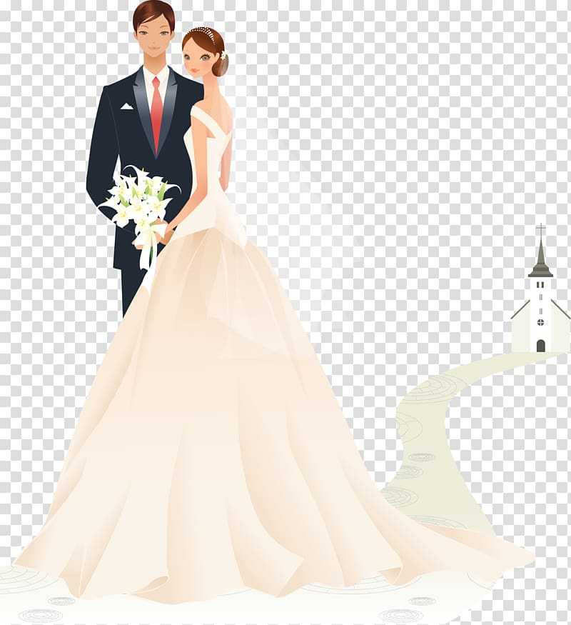 Bride and groom animated illustration, Wedding invitation.