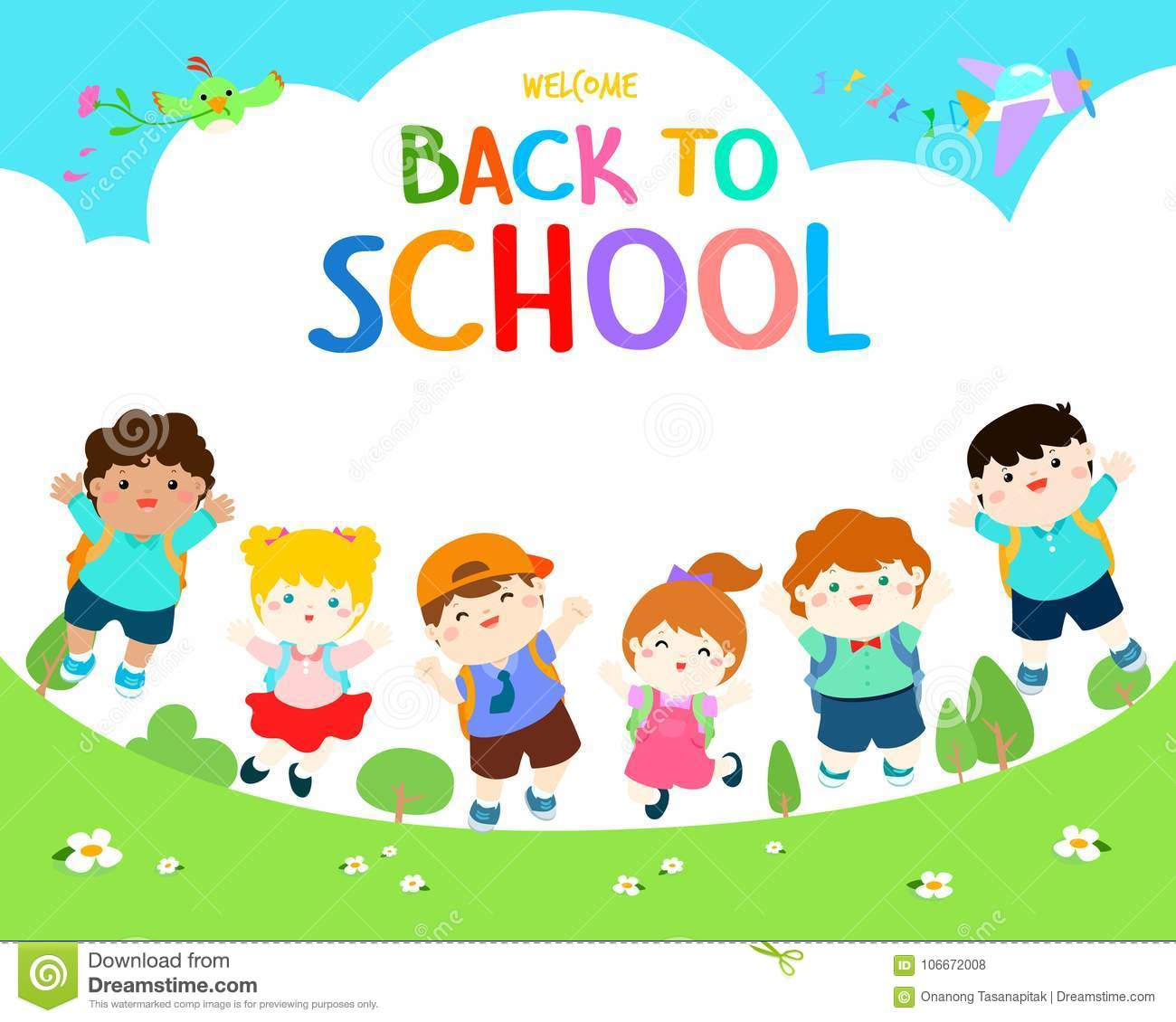 Welcome Back To School Illustration. Stock Vector.