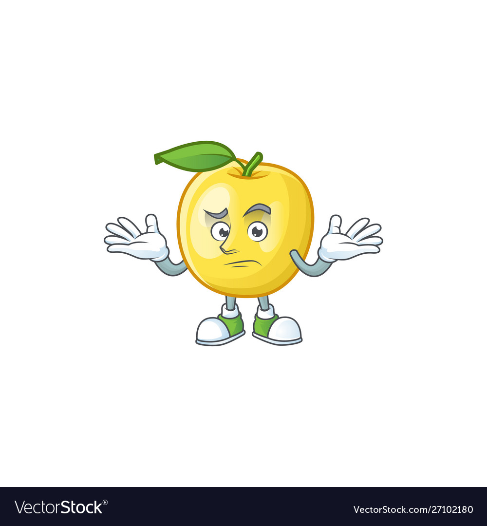 Grinning golden apple fruit cartoon on white.