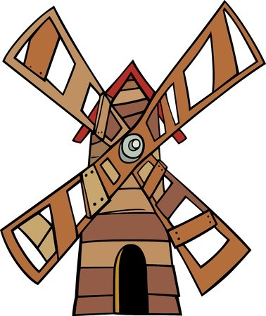 Cartoon Illustration of Wooden Windmill Clip Art: Royalty.