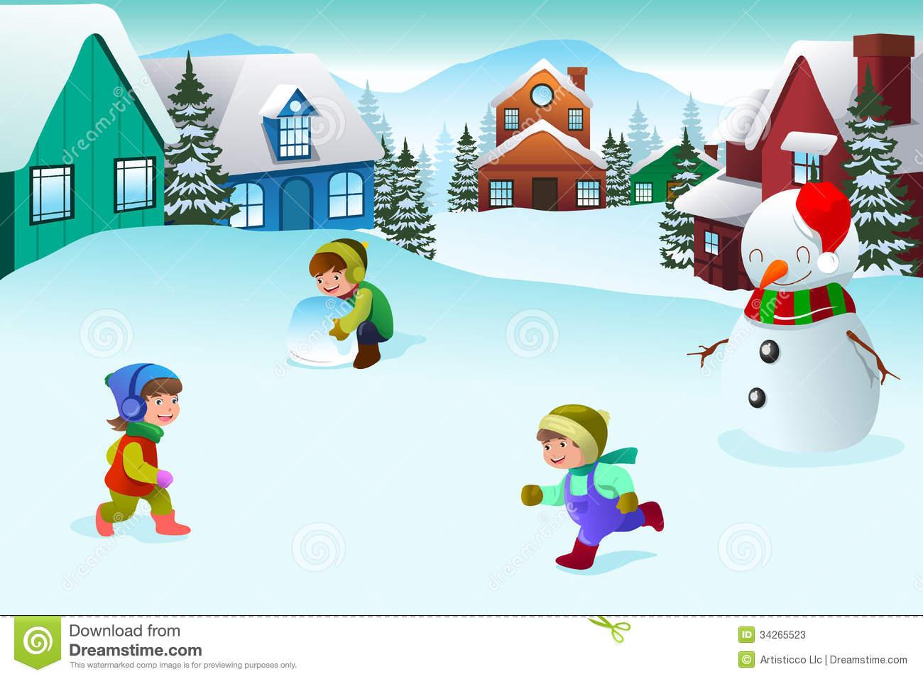 Winter Clipart Scene.