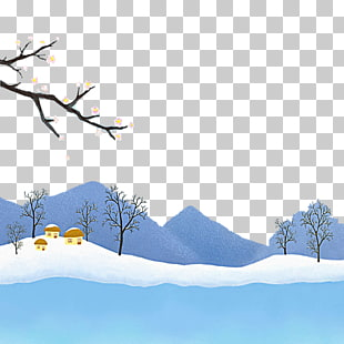 Beautiful snow scene PNG clipart.