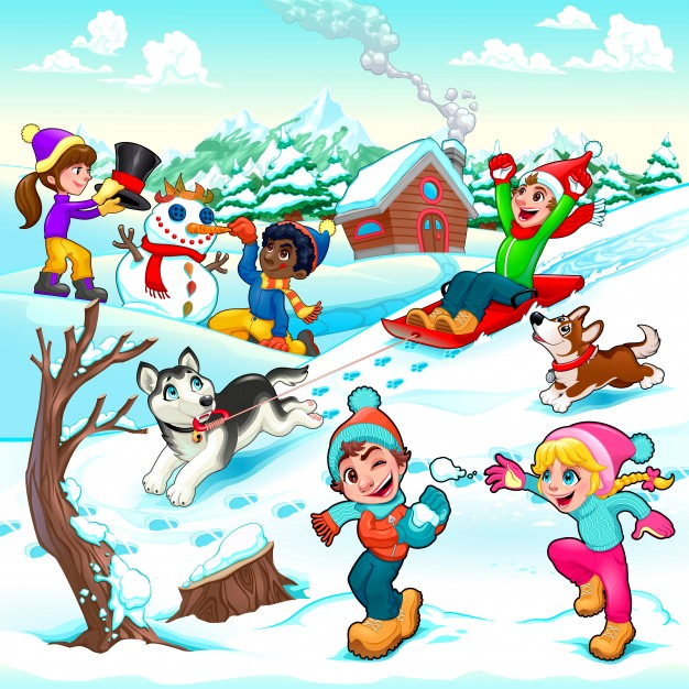 Funny winter scene with children and dogs cartoon vector.