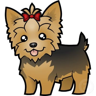 Cartoon Yorkshire Terrier (short hair with bow) Cutout.