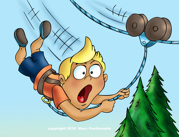 Ziplining cartoon.