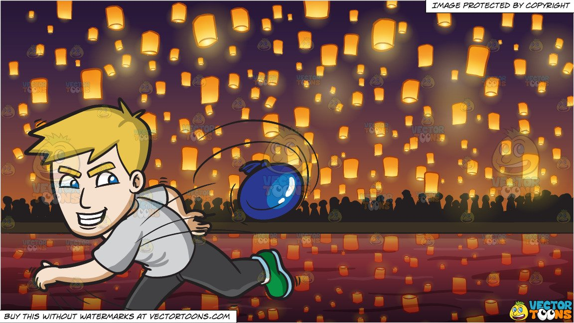 A Man Having Fun While Throwing A Water Balloon and Flying Paper Lanterns  At Diwali Festival Background.