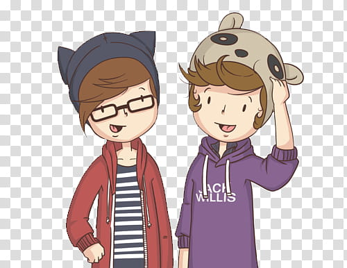 Caricaturas de One Direction, two boys cartoon characters.