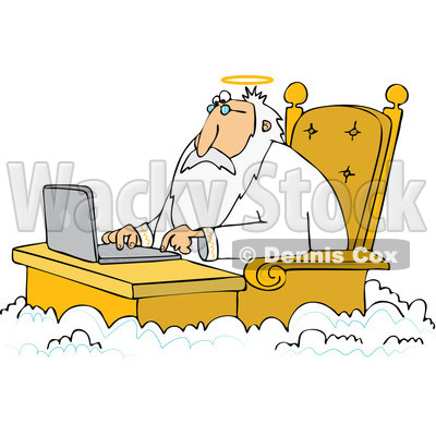 of Jesus Working on a Laptop at a Desk in Heaven.