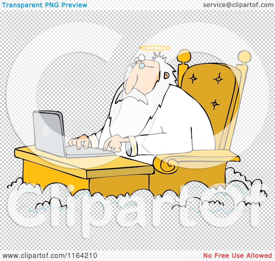Cartoon of Jesus Working on a Laptop at a Desk in Heaven.
