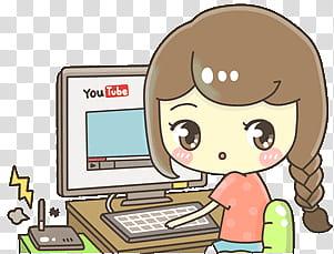 Kawaii People, animated girl using computer watching YouTube.