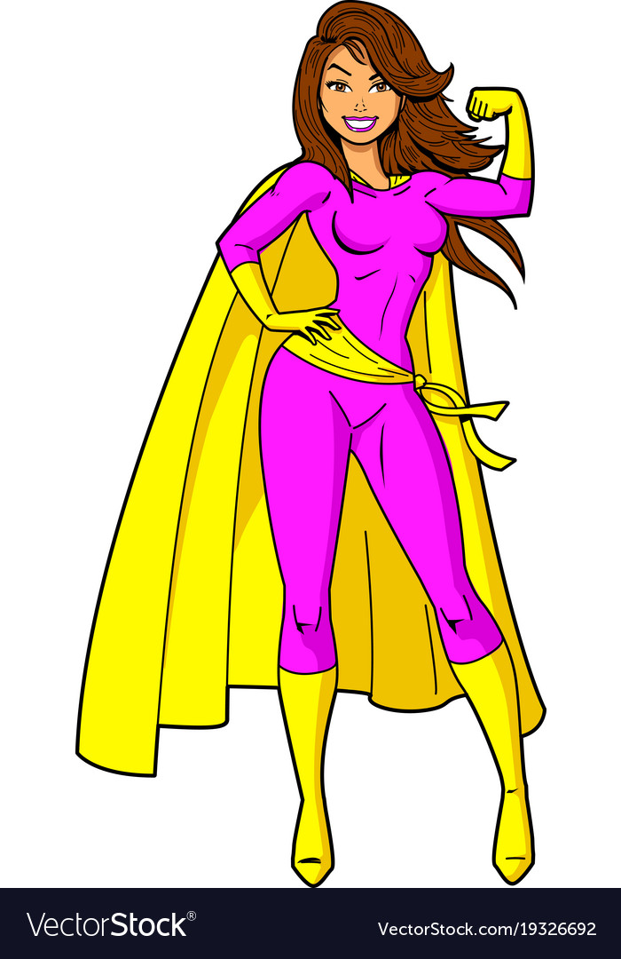 Super woman female superhero cartoon clipart.