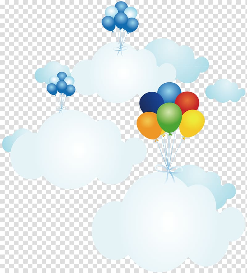 Three floating floating balloons and clouds , Cloud.