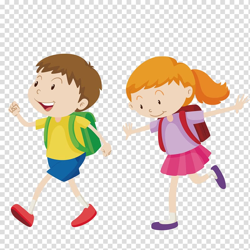 Animated boy and girl illustration, Walking Boy , go to.