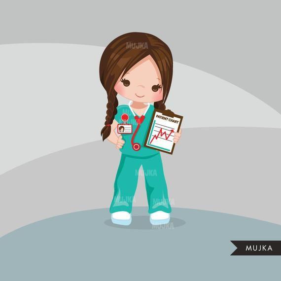 Nurse Clipart. Little Girl Graphics, medical, hospital.