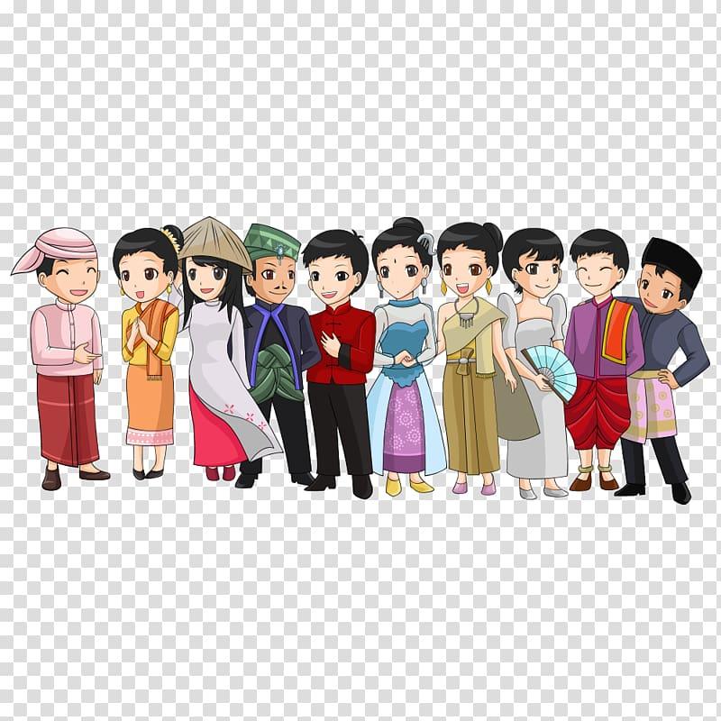 Anime character illustration, Southeast Asia Folk costume.