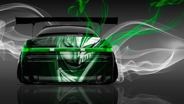HD wallpaper: black car clipart, Smoke, Green, Tuning, Style.