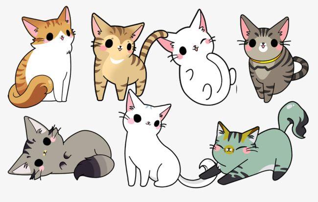 Hand Drawn Cat Family, Hand Painted Design Cat, Cat, Cartoon.