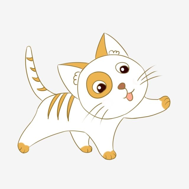 Lovely Kitten Cute Cartoon Animal Pet Hand Drawn.
