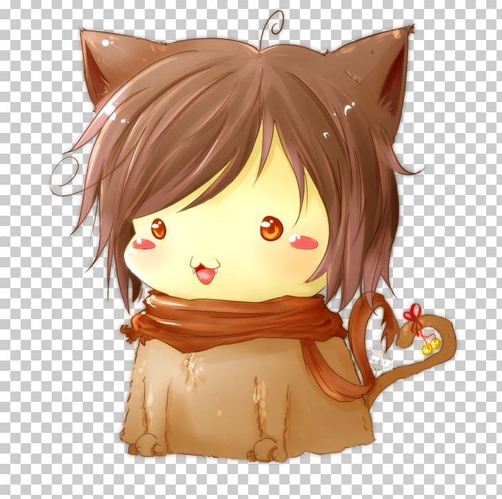 Chibi Anime Cat Kitten Art PNG, Clipart, Anime, Art, Brown.