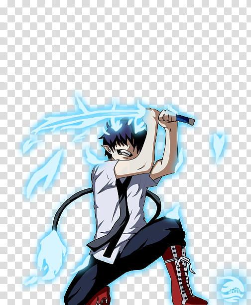 Rin Okumura, boy anime character holding sword transparent.