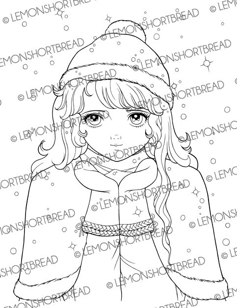 Digital Stamp Winter Snow in my Palm Girl, Digi Coloring Page.