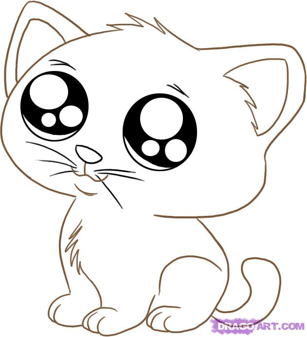 How To Draw An Anime Cartoon Kitty Step By Animals clipart.