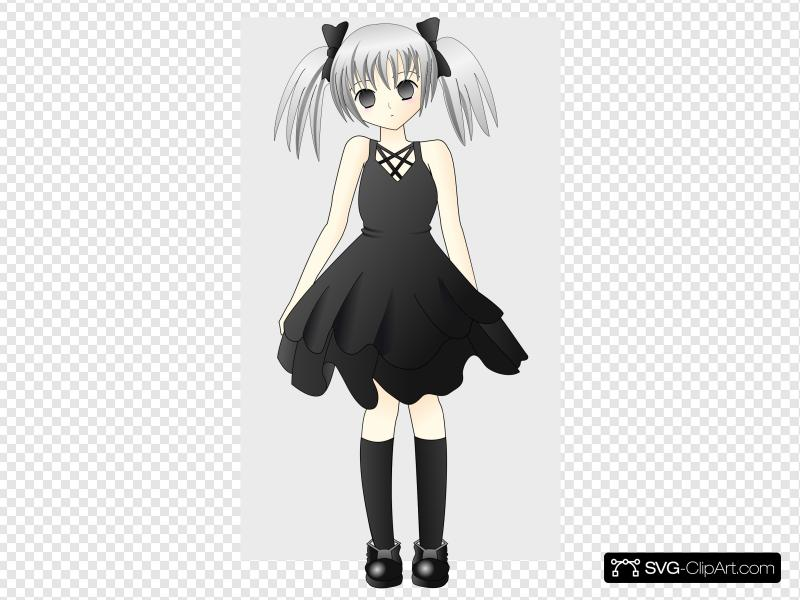Anime Girl With Silver Hair Clip art, Icon and SVG.