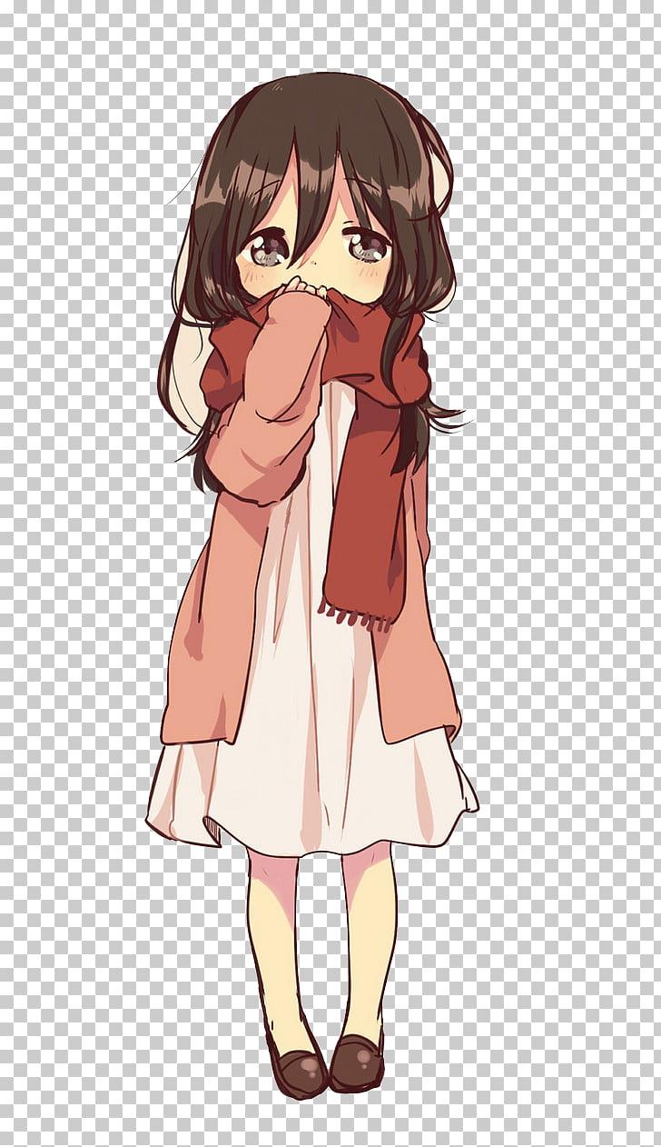 Anime Drawing Brown hair Girl, Winter girl, black hair girl.