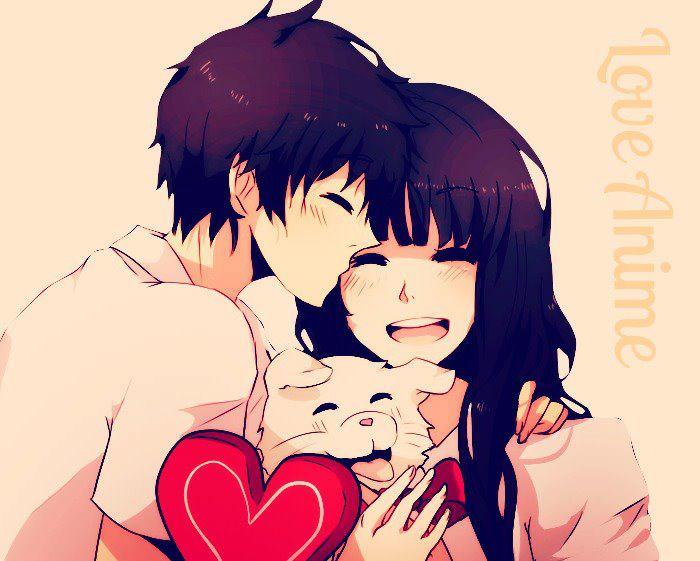 Cute Cartoon Couple Holding Hands.