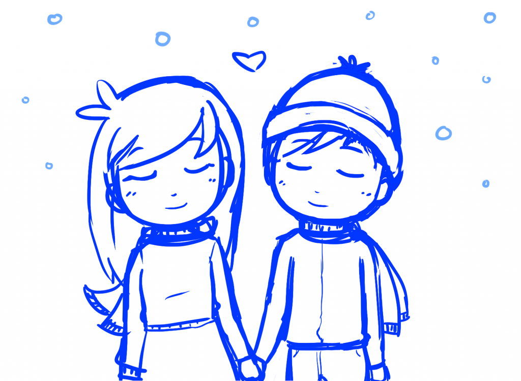 Drawing Of A Couple Holding Hands.