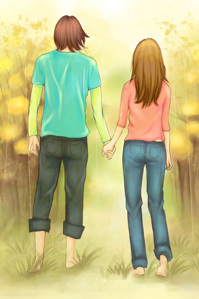 Anime Couple holding hands.