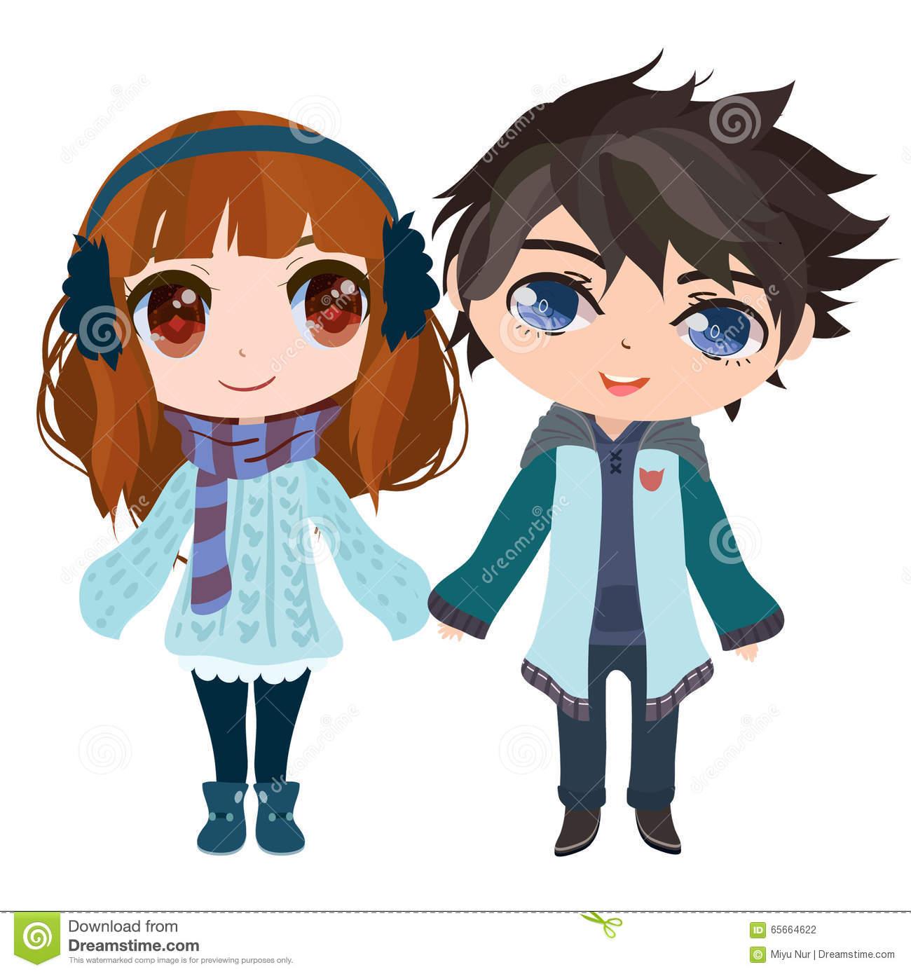 Anime Couple Stock Vector.