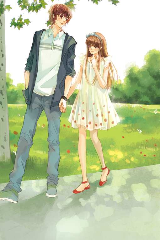 anime couples holding hands clipart