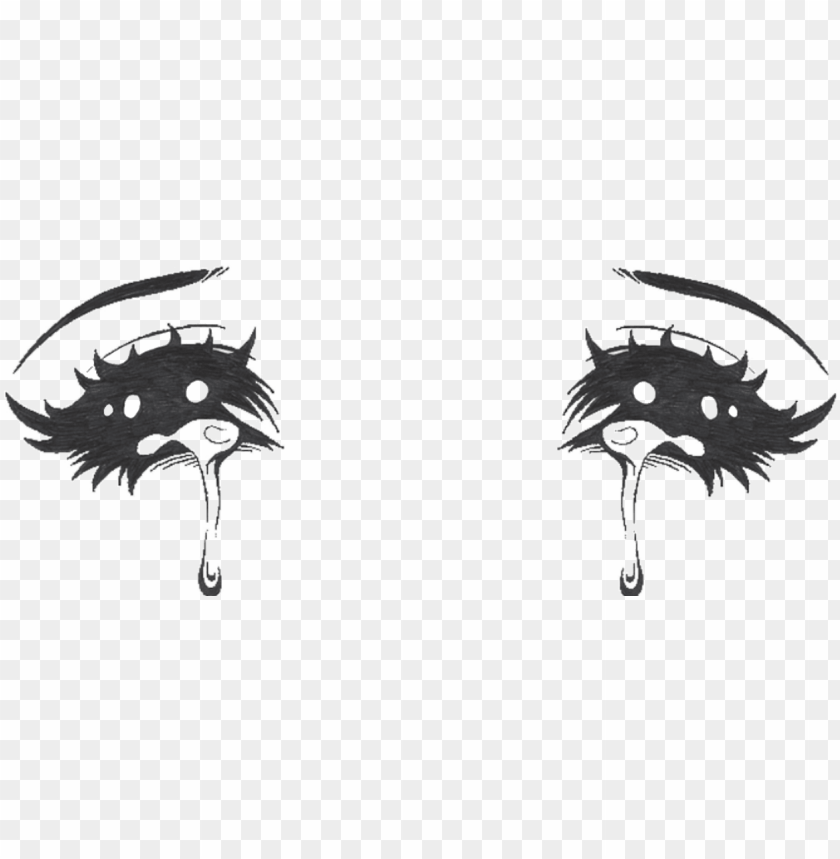 crying anime eyes PNG image with transparent background.