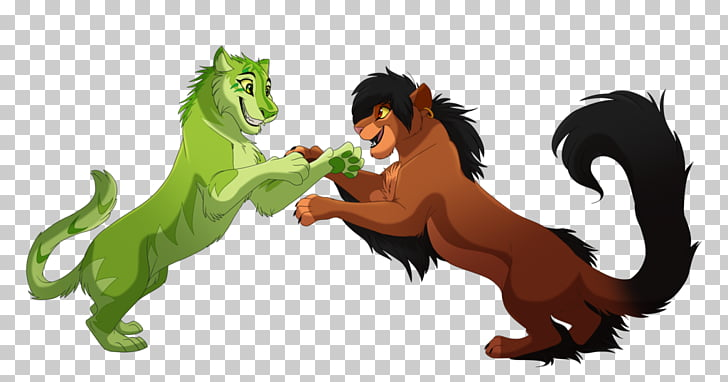 Lion Horse Cat Legendary creature, Anime fight PNG clipart.