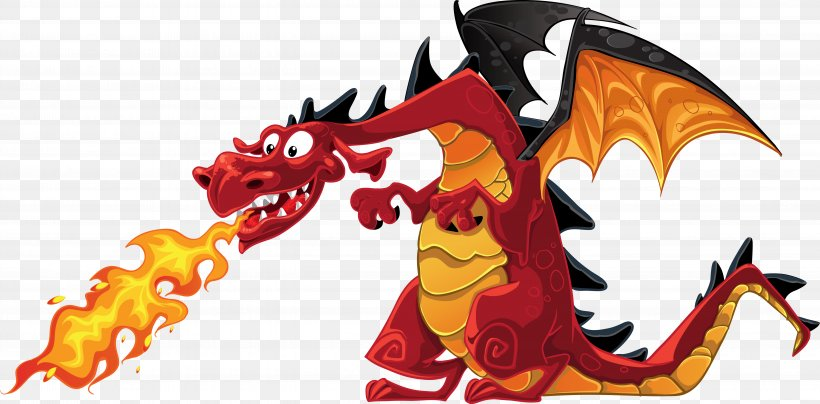 Dragon Fire Breathing Cartoon Clip Art, PNG, 5588x2755px.