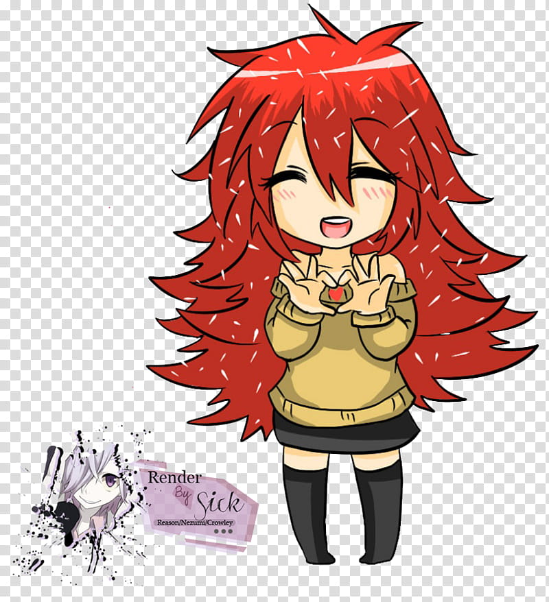 Renders Anime Chibi, female with red hair anime character.