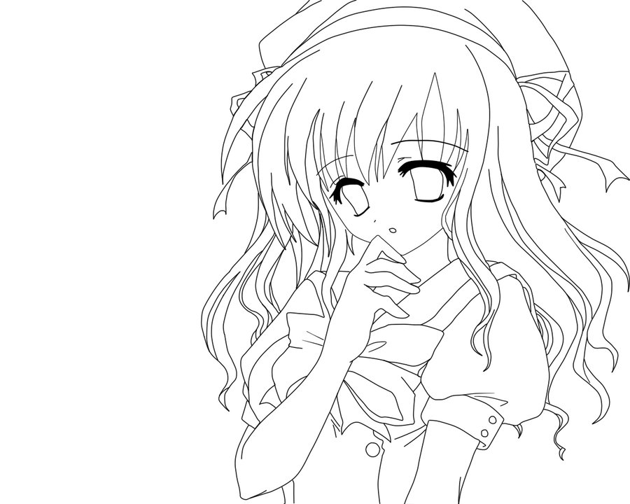 Anime girls clipart no color clipart images gallery for free.