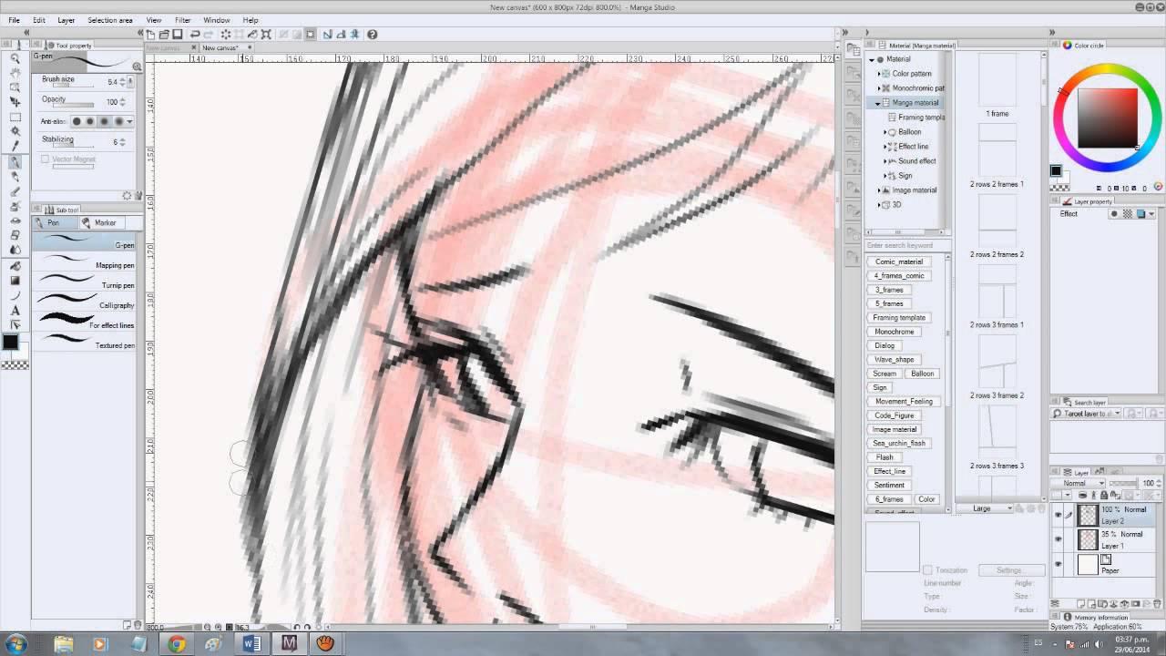 LINE ART Anime speed painting with Manga studio.