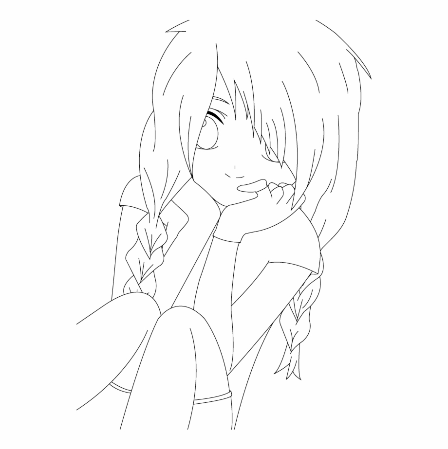 Boy Lineart Line Art Girl Anime Png.