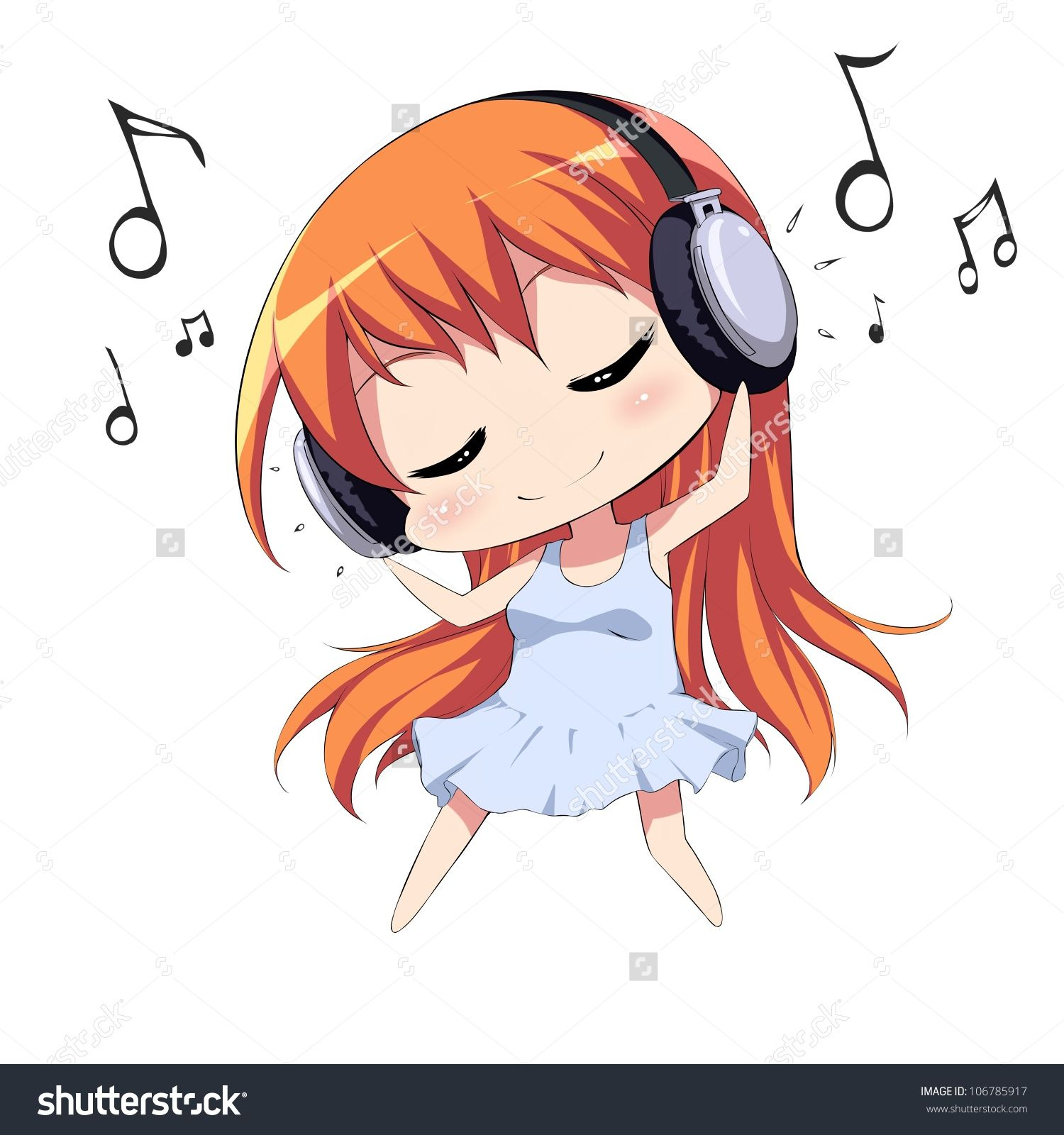 Anime Listening to Music Clip Art.
