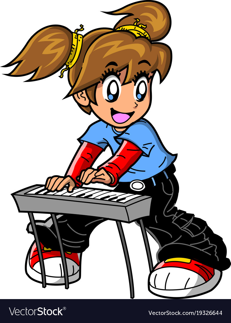 Girl piano keyboard player anime manga clipart.