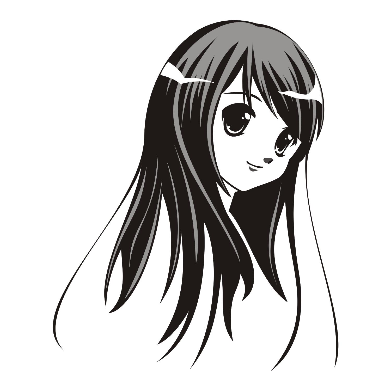 Vector for free use: Lovely anime girl.