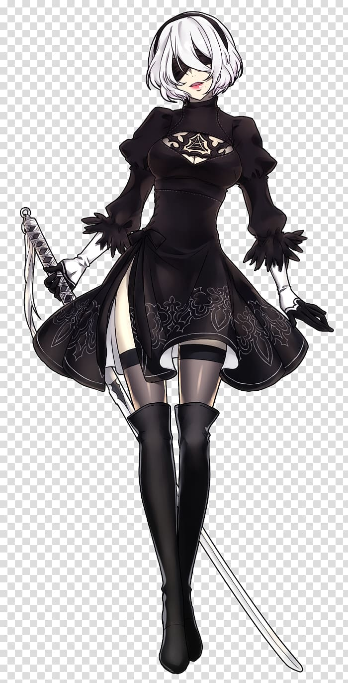 Nier: Automata Wig Cosplay Costume, cosplay transparent.